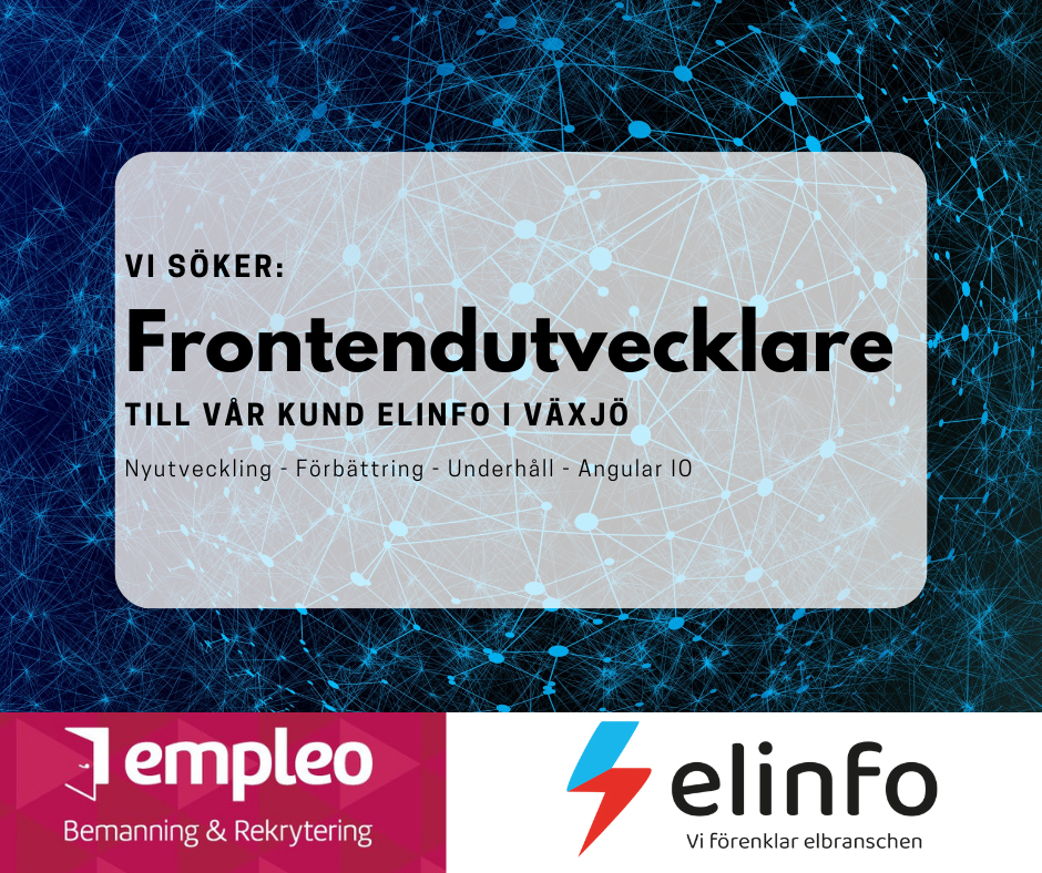 Mjukvaruföretaget Elinfo söker en frontendutvecklare